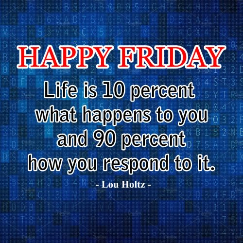 20 Best Thoughts of Friday and Inspiring Quotes 07 - Life is 10 percent what happens to you