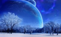 Animated Nature HD Wallpaper for Laptop with Close-up Planets Views in Winter