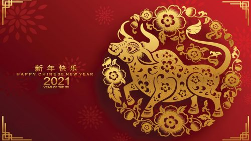 Greeting Card Design for Happy Chinese New Year 2021 - Year of the Ox