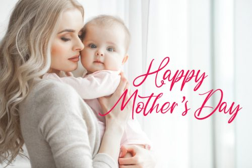Happy Mother's Day Greeting Card Design with Picture of Beautiful Mom and Her Baby