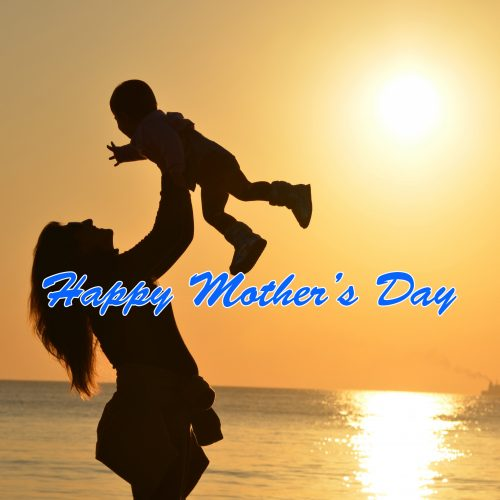 Happy Mother's Day Wallpaper with Picture of Mom and Baby Sunset Silhouette