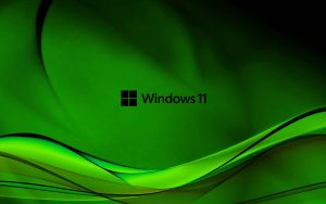 Abstract Wave in Green for Windows 11 Wallpaper with Black Logo