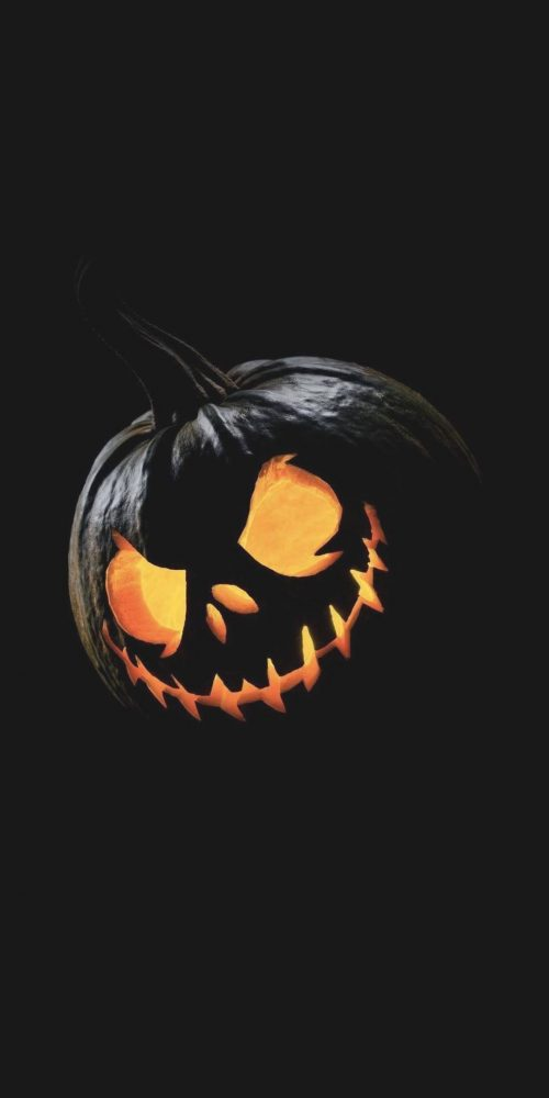 Happy Halloween Wallpaper for Mobile Phone with Pumpkin in the Dark